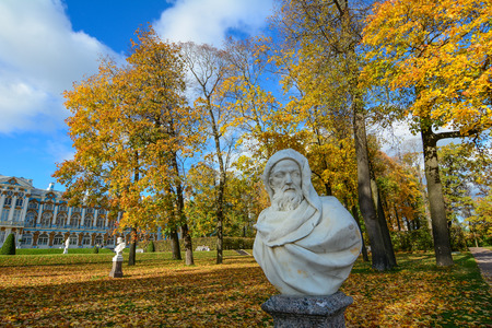 St Petersburg, Russia - Oct 7, 2016. A hero statue at Catherine Palace in Saint Petersburg, Russia. Catherine Palace was the summer residence of the Russian tsars.