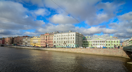 St Petersburg, Russia - Oct 7, 2016. Old buildings with Kryukov Canal at summer in Saint Petersburg, Russia. Saint Petersburg has a significant historical and cultural heritage.