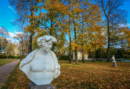 St Petersburg, Russia - Oct 7, 2016. A marble statue at Catherine Palace in Saint Petersburg, Russia. Catherine Palace is a Rococo palace located in the town of Tsarskoye Selo.