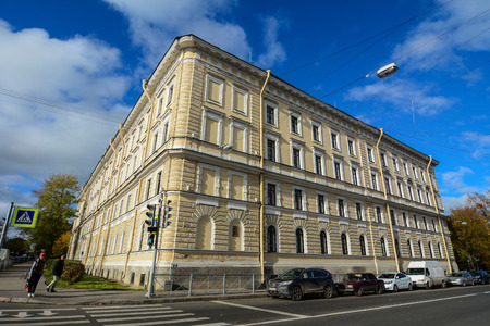 St Petersburg, Russia - Oct 7, 2016. Old buildings at Pushkin Town in St. Petersburg, Russia. Pushkin is a municipal town in Pushkinsky District of the federal city of St. Petersburg.