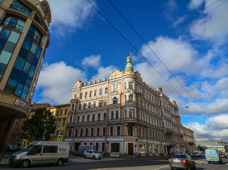 St Petersburg, Russia - Oct 7, 2016. Vehicles running on street at business district in Saint Petersburg, Russia. Saint Petersburg has a significant historical and cultural heritage.