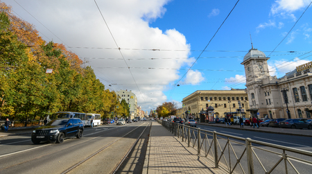 St Petersburg, Russia - Oct 7, 2016. Vehicles running on street at downtown in Saint Petersburg, Russia. Saint Petersburg has a significant historical and cultural heritage.