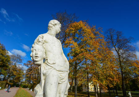St Petersburg, Russia - Oct 7, 2016. A hero statue at Catherine Palace in Saint Petersburg, Russia. Catherine Palace is a Rococo palace located in the town of Tsarskoye Selo.