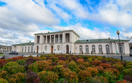 St Petersburg, Russia - Oct 7, 2016. View of Pushkin Railway Station in Saint Petersburg, Russia. Pushkin is a municipal town in Pushkinsky District of the federal city of St. Petersburg.