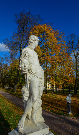 St Petersburg, Russia - Oct 7, 2016. A marble statue at Catherine Palace in St. Petersburg, Russia. Catherine Palace is a Rococo palace located in the town of Tsarskoye Selo. Editorial