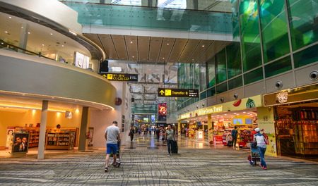 Singapore - Mar 14, 2016. Shops at Terminal 3 of Singapore Changi Airport. The Airport serves more than 100 airlines flying to 380 cities in around 90 countries. Editorial