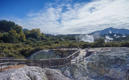 People visit Taupo Volcanic Zone on North Island in New Zealand. The volcano has been active for the past two million years and is still highly active.
