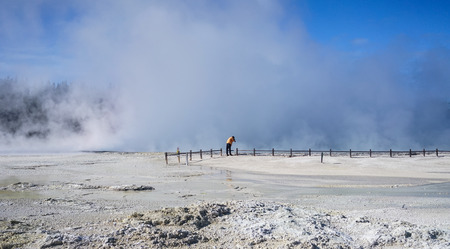 People visit Taupo Volcanic Zone on the North Island in New Zealand.