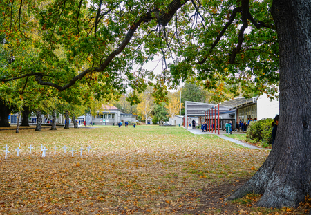 Wellington, New Zealand - Apr 28, 2015. Peaceful cemetery with autumn trees in Wellington, New Zealand.