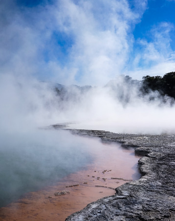 Champagne Pool (hot lake) in Waiotapu, North Island of New Zealand. It is one of the top destinations in New Zealand.