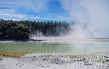 Hot lake at Taupo Volcanic Zone on the North Island in New Zealand.