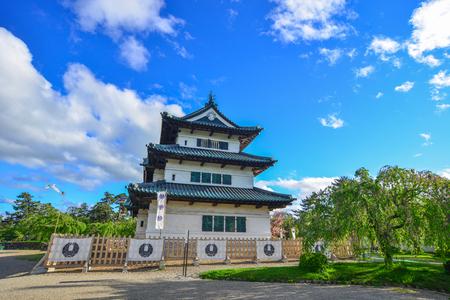 Aomori, Japan - May 16, 2017. Hirosaki Castle at summer day in Aomori, Japan. Hirosaki was the capital of the Tsugaru clan that once ruled over much of Tohoku northern parts. Editöryel