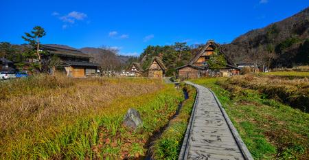 Gifu, Japan - Dec 2, 2016. Shirakawa-go Historic Village at autumn in Gifu, Japan. Shirakawa is a small traditional village showcasing a building style known as gassho-zukuri.