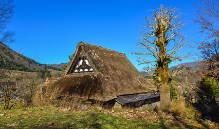 Ancient wooden house at Shirakawa-go Historic Village in Gifu, Japan. Stock Photo