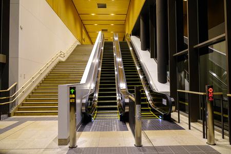 Kyoto, Japan - Dec 2, 2016. Empty moving escalators at JR Railway Station in Kyoto, Japan. Banco de Imagens - 93245542