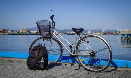 Hakodate, Japan - Oct 1, 2017. A bicycle parking at Port of Hakodate, Japan. Hakodate opened its gates to the world as Japan first international trade port in 1859. Stock Photo
