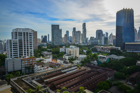 Bangkok, Thailand - Jun 18, 2017. Aerial view of Silom District in Bangkok, Thailand. Bangkok has a population of over 8 million, or 12.6 percent of the country population.