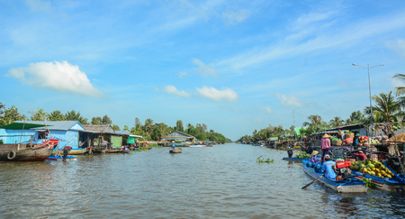 Soc Trang, Vietnam - Feb 2, 2016. Nga Nam Floating Market on Mekong River in Soc Trang, Southern Vietnam. Mekong is the longest river in Southeast Asia, the 7th longest in Asia. Editorial