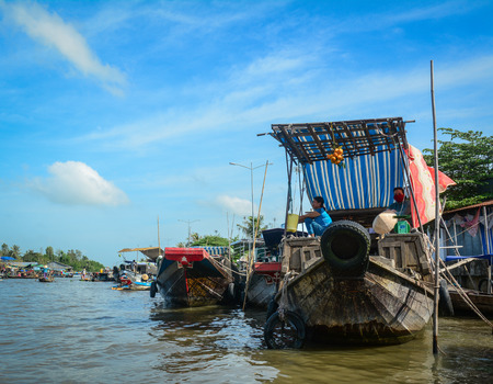 Soc Trang, Vietnam - Feb 2, 2016. Cargo boats at floating market on Mekong River in Soc Trang, Vietnam. Mekong is the longest river in Southeast Asia, the 7th longest in Asia. Editorial
