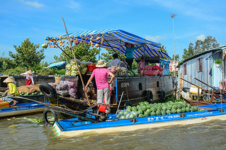 Soc Trang, Vietnam - Feb 2, 2016. Vendors at floating market on Mekong River in Soc Trang, Southern Vietnam. Mekong is the longest river in Southeast Asia, the 7th longest in Asia. Editorial