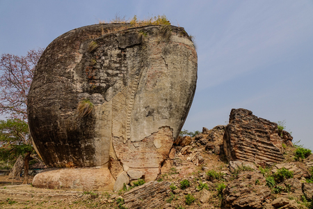 Remains of a giant chinthe shaped as an elephant in Mingun, Sagaing Region, Myanmar.