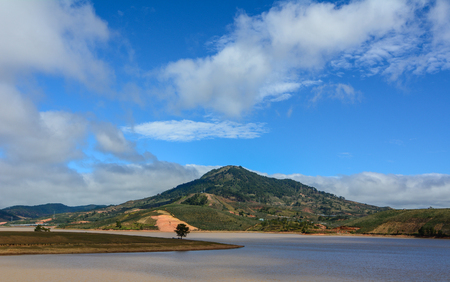 Natural landscape with lake and mountain summer day in Dalat, Vietnam.