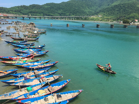Wooden boats on Lang Co Bay in South Coast of Vietnam. biên tập