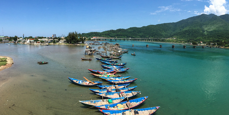 Wooden boats on Lang Co Bay in South Central Coast of Vietnam. Kho ảnh