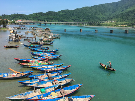 Fishing boats docking on Lang Co Bay in South Coast of Vietnam. Kho ảnh