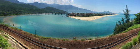 Panorama of Lang Co Bay with rail tracks in South Coast of Vietnam. Kho ảnh