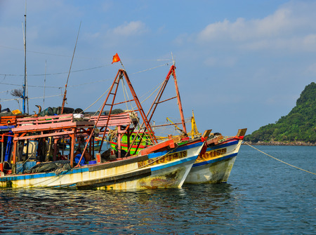 Tho Chau, Vietnam - Dec 10, 2017. Old fishing boats docking on sea in Tho Chau Island, Vietnam. Tho Chau Islands (Poulo Panjang) is an archipelago in the Gulf of Thailand.