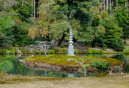 Stone monument of a Japanese zen garden at summer in Kyoto, Japan.
