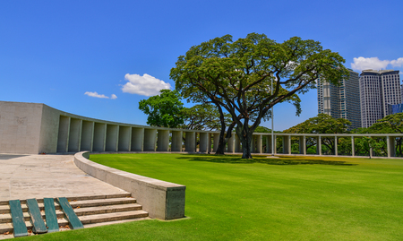 Manila, Philippines - Apr 13, 2017. View of Manila American Cemetery and Memorial in sunny day. Cemetery honors the American and allied servicemen who died in World War II.