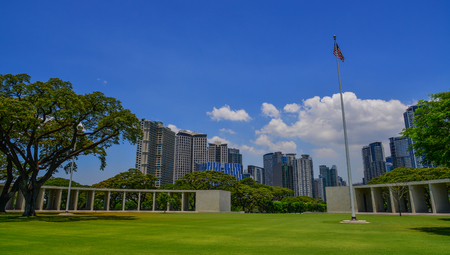 Manila, Philippines - Apr 13, 2017. Landscape of Manila American Cemetery. Cemetery honors the American and allied servicemen who died in World War II.