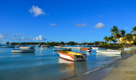 Mahebourg, Mauritius - Jan 9, 2017. Speedboats on beach at sunny day in Mahebourg, Mauritius. Mauritius is a major tourist destination, ranking 3rd in the region. Editorial