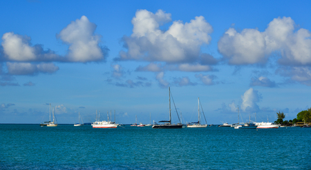 Grand Baie, Mauritius - Jan 9, 2017. Sailing boats on beautiful sea in Grand Baie, Mauritius Island. Mauritius is a major tourist destination, ranking 3rd in the region.