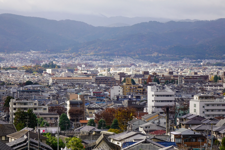 Kyoto, Japan - Nov 29, 2016. Aerial view of Kyoto, Japan. With its 2,000 Buddhist temples and Shinto shrines, Kyoto is one of the best preserved cities in Japan.