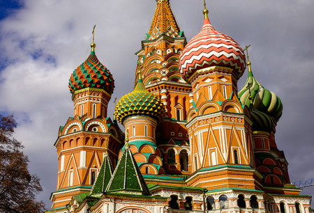 View of St. Basil Cathedral at sunny day in Moscow, Russia. The church constructed on Red Square in Moscow between 1554 and 1560.