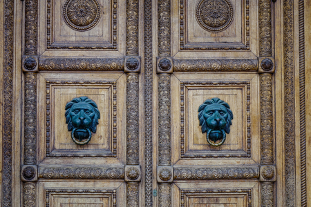 Wooden door of an old building near Kremlin Palace in Moscow, Russia.