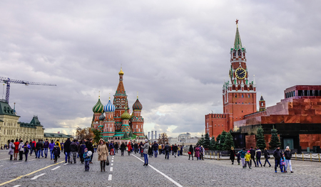 Moscow, Russia - Oct 16, 2016. People walking on Red Square in Moscow, Russia. Red Square remains, as it has been for centuries, the heart and soul of Russia.
