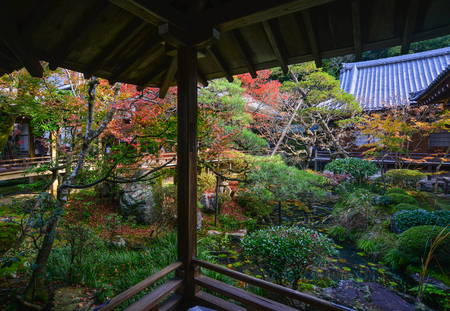 Autumn garden of Eikando Shrine in Kyoto, Japan. Eikando is a temple of the Jodo sect of Japanese Buddhism in Kyoto.