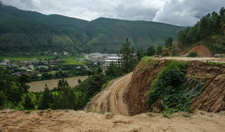 Mountain scenery of Thimphu, Bhutan. Bhutan is geopolitically in South Asia and is the region second least populous nation.