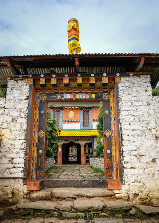 Thimphu, Bhutan - Aug 30, 2015. The gate of Buddhist monastery in Thimphu, Bhutan. It is believed that Buddhism was introduced to Bhutan in the late 8th century.