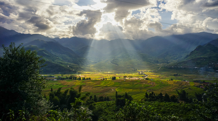 Hmong village with terraced rice field at sunny day in Tu Le, Northern Vietnam.