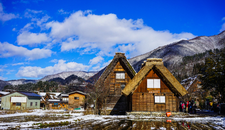 Gifu, Japan - Dec 30, 2015. Historic Village of Shirakawago at winter in Gifu, Japan. Shirakawago was registered as a UNESCO World Heritage Site in 1995. Editorial
