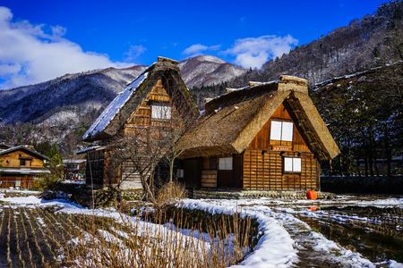 Gifu, Japan - Dec 30, 2015. Wooden houses at Historic Village of Shirakawago in Gifu, Japan. Shirakawago was registered as a UNESCO World Heritage Site in 1995.