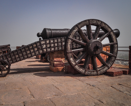 Ancient cannon on wheels of Mehrangarh (Mehran Fort) in Jodhpur, Rajasthan State, India.