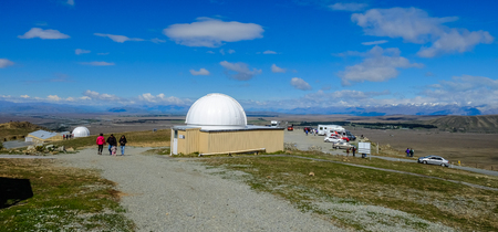 Mackenzie, New Zealand - Nov 3, 2016. People visit Mount John University Observatory. The observatory is situated at 1,029 metres ASL atop Mount John.
