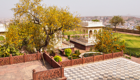 Jaswant Thada with garden in Jodhpur, India. Jaswant Thada was built by Maharaja Sardar Singh of Jodhpur State in 1899.