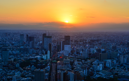 Tokyo, Japan - Sep 29, 2017. Business district at sunset in Tokyo, Japan. Tokyo was rated as the most expensive (highest cost-of-living) city in the world for 14 years.